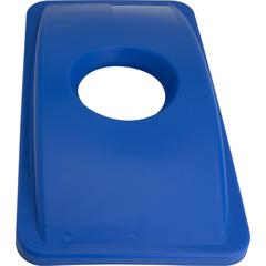 Genuine Joe 23-Gal Recycling Bin Round Cutout Lid - Round - 1 EachBlue