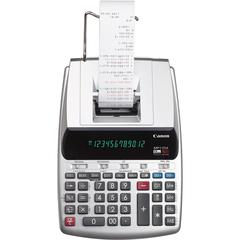 Canon MP11DX 2-Color Printing Calculator - Dual Color Print - Clock, Calendar, Built-in Memory, Date/Time Display - 12 Digits - Silver - 1 Each