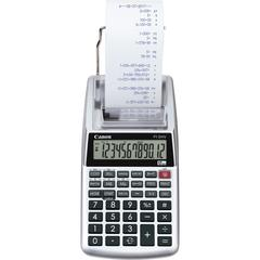 Canon P1DHV3 Compact Printing Calculator - Sign Change, Built-in Memory, Item Count, Clock, Calendar - 12 Digits - Sliver - 1 Each