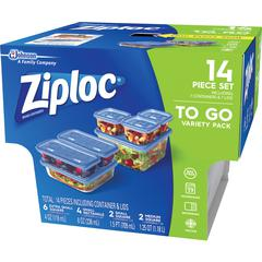Ziploc® Brand Container Set - 4 fl oz Food Container, 8 fl oz Food Container, 24 fl oz Food Container, 1.2 quart Food Container, Lid - Plastic - Dishwasher Safe - Microwave Safe - Clear - 7 Piece(