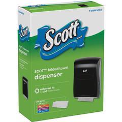 "Scott Folded Towel Dispenser - Multifold, C Fold, Singlefold Dispenser - 18.9"" Height x 13.3"" Width x 5.9"" Depth - Black - Window"