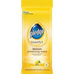 "Pledge Lemon Furniture Polish Wipes - Wipe - Lemon Scent - 7"" Width x 10"" Length - 24 / Pouch - 12 / Carton - Yellow"
