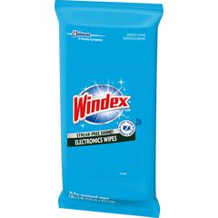 Windex Electronics Wipes - For Multi Surface, Multipurpose, Display Screen - Residue-free - 25 - 12 / Carton - Blue