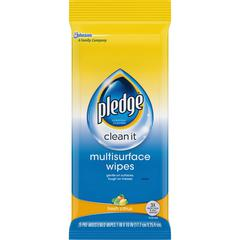 "Pledge Multi Surface Cleaner Wipes - Wipe - Citrus Scent - 7"" Width x 8"" LengthPouch - 25 / Pack - White"