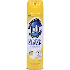 Pledge Lemon Clean Furniture Spray - Ready-To-Use Spray - 9.70 fl oz - Lemon Scent - 12 / Carton