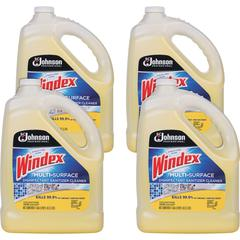 Windex Multisurface Disinfectant - Liquid - 1 gal (128 fl oz) - Bottle - 4 / Carton - Yellow