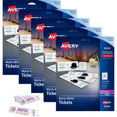 """Avery Printable Tickets with Tear-Away Stubs - 1 3/4"""" Width x 5 1/2"""" Length - Laser, Inkjet - White - 20 / Sheet - 5 / Carton"""