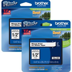 """Brother P-touch TZe Laminated Tape Cartridges - 15/32"""" Width x 26 1/4 ft Length - Rectangle - White - 2 / Bundle"""