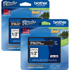 "Brother P-touch TZe Laminated Tape Cartridges - 15/32"" Width x 26 1/5 ft Length - Rectangle - Black - 2 / Bundle"