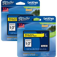 "Brother P-touch TZe Laminated Tape Cartridges - 15/32"" Width x 26 1/4 ft Length - Rectangle - Yellow - 2 / Bundle"