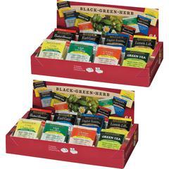 Bigelow 8-Flavor Tea Assortment Tea Tray Pack - Black Tea, Green Tea - Assorted - 2 / Bundle
