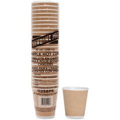 Genuine Joe Ripple Hot Cups - 10 fl oz - 125 / Bundle - Brown - Hot Drink