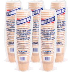 Genuine Joe Ripple Hot Cups - 12 fl oz - 125 / Bundle - Brown - Hot Drink
