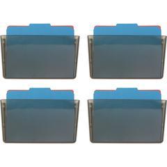"""OIC Wall Mountable Space-Saving Files - 7"""" Height x 13"""" Width x 4.1"""" Depth - Partition-mountable, Wall Mountable - Smoke - Plastic - 4 / Carton"""