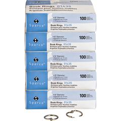 """Sparco Book Rings - 0.8"""" Diameter - Silver - Nickel Plated - 5 / Bundle"""