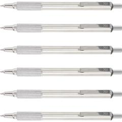 Zebra Pen F-701 Retractable Ballpoint Pen - 0.7 mm Pen Point Size - Refillable - Black - Stainless Steel Barrel - 6 / Box