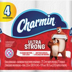 Charmin Ultra Strong Bath Tissue - 2 Ply - White - Absorbent, Washable, Septic-free, Textured - For Home - 4 / Pack