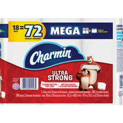Charmin Ultra Strong Bath Tissue - 2 Ply - White - Absorbent, Washable, Septic-free - For Home - 18 / Pack