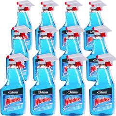 Windex&reg Glass Cleaner with Ammonia-D - Capped with Trigger - Spray - 0.25 gal (32 fl oz) - 12 / Carton - Blue