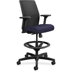 "HON Ignition Seating Mid-back Task Stool - Fabric Navy Seat - Black Frame - 5-star Base - 26"" Width x 26.5"" Depth x 52.5"" Height"