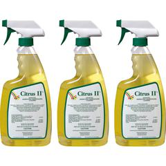 Citrus II Germicidal Cleaner - Ready-To-Use Spray - 0.17 gal (22 fl oz) - Citrus ScentBottle - 3 / Pack - White, Green