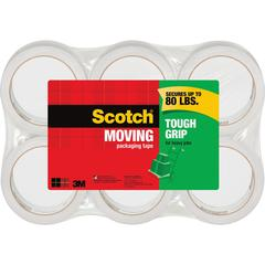 "Scotch® Tough Grip Moving Packaging Tape - 1.88"" Width x 43.70 yd Length - Fiber - Hot-melt, Ready-To-Use - 6 / Pack - Clear"