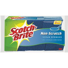 "Scotch-Brite Non-Scratch Scrub Sponges - 0.8"" Height x 4.3"" Width x 2.8"" Depth - 9/Pack - Blue"