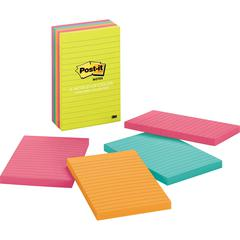 "Post-it® Notes 4""x6"" Pads in Capetown Colors - 4"" x 6"" - Rectangle - 100 Sheets per Pad - Ruled - Assorted - Self-adhesive, Self-stick - 5 / Pack"