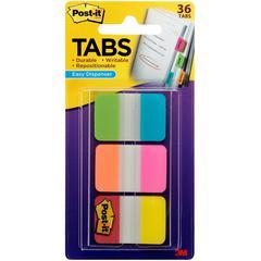 "Post-it® Alternating Tabs - 216 Tab(s) - 1"" Tab Height x 1.50"" Tab Width - Self-adhesive - Aqua Poly, Yellow, Pink, Red, Green, Orange Tab(s) - 216 / Pack"
