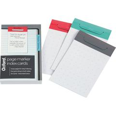 "Oxford Page Marker Index Cards - Grid Ruled - 5"" x 3"" - Assorted Paper - 36 / Pack"
