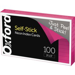 Oxford Self-Stick Index Cards - Ruled - Neon - Self-stick, Self-adhesive - 100 / Pack