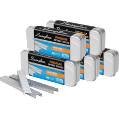 "Swingline Optima Premium Staples - 210 Per Strip - Premium - 1/4"" Leg - for Paper - Silver - Metal - 18750 / Pack"