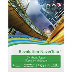 "Xerox Revolution Laser Print Synthetic Paper - Letter - 8 1/2"" x 11"" - 135 g/m² Grammage - Matte - 94 Brightness - Weather Resistant, Chemical Resistant - 100 / Pack - White"