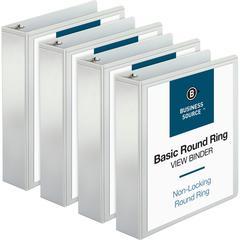 """Business Source Round-ring View Binder - 2"""" Binder Capacity - Letter - 8 1/2"""" x 11"""" Sheet Size - 475 Sheet Capacity - Round Ring Fastener - 2 Internal Pocket(s) - Polypropylene - White - 4 / Bundle"""