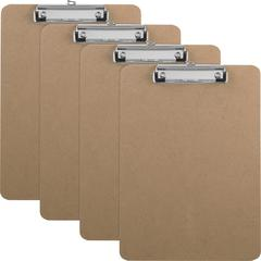 Business Source Flat Clip Hardboard Clipboard - Brown - 6 / Box