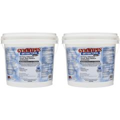 "2XL GymWipes Dispensing Antibacterial Towelettes - Wipe - 6"" Width x 8"" Length - 700 / Bucket - 2 / Carton - White"