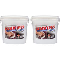 "2XL GymWipes Workout Surfaces Towelettes Bucket - Wipe - 6"" Width x 8"" Length - 700 / Bucket - 2 / Carton - White"