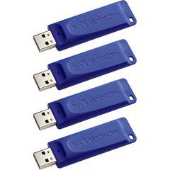 Verbatim Classic USB Flash Drive - 8 GB - USB - Blue - 4/Pack - Capless, Retractable