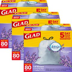 Glad Lavender Scent 13-gal Kitchen Trash Bags - 13 gal - 0.78 mil (20 Micron) Thickness - White - 240/Carton - Garbage, Office, Kitchen