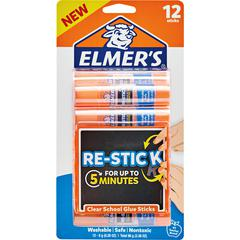 Elmer's Re-stick School Glue Stick - Photo, Paper, Fabric - Washable, Adhesive, Easy to Use, Non-toxic, Acid-free - 12 / Pack - White