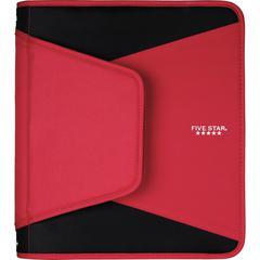 "Mead 1-1/2"" Zipper Binder - 1 1/2"" Binder Capacity - Letter - 8 1/2"" x 11"" Sheet Size - 300 Sheet Capacity - 3 x Round Ring Fastener(s) - 3 Internal, External Pocket(s) - Plastic - Red - 1 Each"