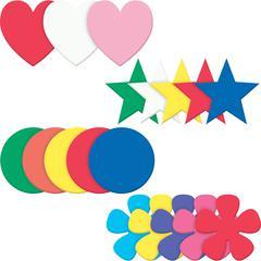 Pacon Wonderfoam Shapes Assortment Set - (Heart, Star, Circle, Flower) Shape - Durable, Strong, Sturdy - Assorted - 1 Set