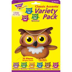 "Trend Bright Owls Accents Variety Pack - Encouragement, Learning Theme/Subject - 36, 36 (Owl, Log) Shape - Precut, Durable, Reusable - 4"" Height - Multicolor - 72 / Pack"