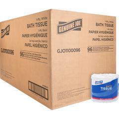Genuine Joe 1-ply Bath Tissue - 1 Ply - 1000 Sheets/Roll - White - Virgin Fiber - Perforated - For Bathroom - 96 / Carton