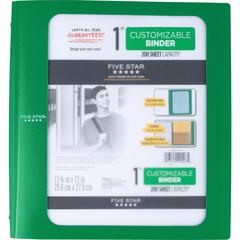 "Five Star Customizable 1"" D-ring Plastic Binder - 1"" Binder Capacity - 225 Sheet Capacity - 3 x D-Ring Fastener(s) - 3 Pocket(s) - Poly - Green - 1 Each"