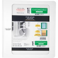 "Five Star Customizable 1-1/2"" D-ring Plastic Binder - 1 1/2"" Binder Capacity - 375 Sheet Capacity - 3 x D-Ring Fastener(s) - 3 Pocket(s) - Poly - White - 1Each"