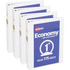 "Avery Round Ring Economy View Binder - 1"" Binder Capacity - 175 Sheet Capacity - Round Ring Fastener(s) - 2 Internal Pocket(s) - Vinyl, Chipboard - White - Recycled - 4 / Bundle"