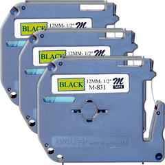 "Brother P-touch Nonlaminated M Series Tape Cartridge - 1/2"" Width x 26 1/5 ft Length - Rectangle - Black - 3 / Bundle"