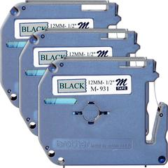 "Brother P-touch Nonlaminated M Series Tape Cartridge - 1/2"" Width x 26 1/5 ft Length - Rectangle - Silver - 3 / Bundle"