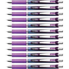 EnerGel Needle Tip Liquid Gel Ink Pens - Refillable - Violet Liquid Gel Ink Ink - Stainless Steel Tip - 12 / Box